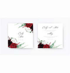 Stylish floral boho wedding invite save date card vector