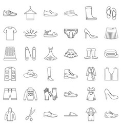Tailor icons set outline style vector
