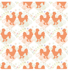 the pattern of silhouettes of roosters vector image
