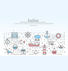 Thin line art sailor poster banner template vector