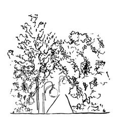 trees and lamps along the vector image