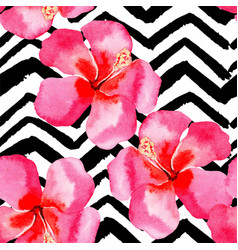 tropical hibiscus watercolor pattern black and vector image