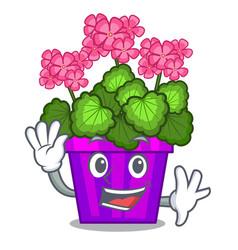 waving geranium flowers stick the character stem vector image