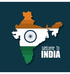 welcome map india country design vector image
