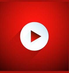 white play button on red background vector image