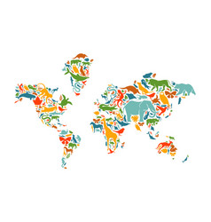 wild animal icon world map shape concept isolated vector image