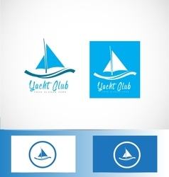 Yacht yachting boat ship logo vector