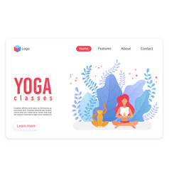 yoga classes flat landing page template vector image
