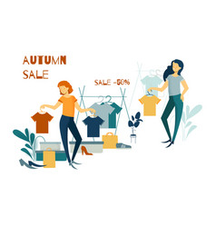 Young woman shopping purchases clothes and vector