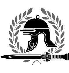 roman helmet stencil fourth variant vector image