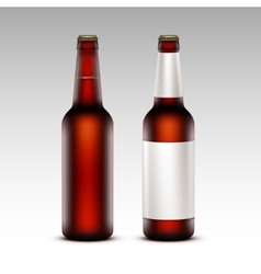 Set of Bottles Dark Beer with without White labels vector image vector image