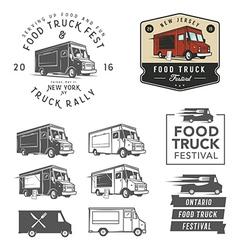 Set of food truck festival emblems badges and des vector image vector image