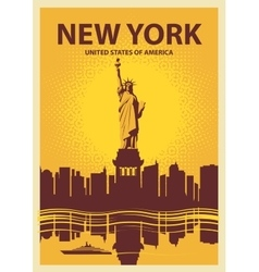 Statue of Liberty on the background of New York vector image