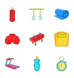Classes in fitness room icons set cartoon style vector image vector image