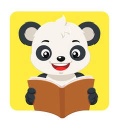 Little Panda Bear Reading A Brown Book vector image vector image