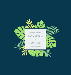monstera tropical leaves fashion sign or logo vector image
