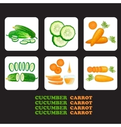 Set of cucumbers and carrots icons vector image vector image