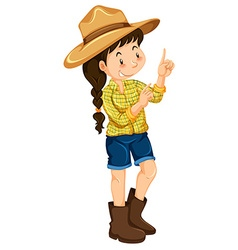 Farm girl in yellow shirt vector image