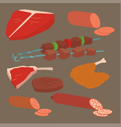 meat products set of cartoon delicious barbecue vector image