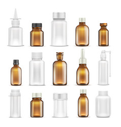 medicine glass and plastic blank bottles isolated vector image vector image