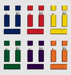 colorful Micro USB and USB flash drive vector image