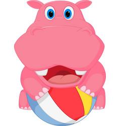 Cute hippo cartoon playing ball vector