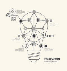 Flat linear Infographic Education Outline lightbul vector image vector image