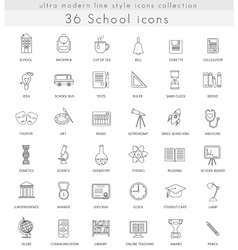 School ultra modern outline line icons for vector image vector image