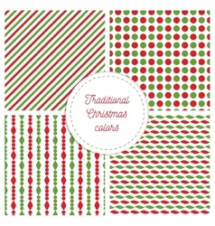 Set of simple retro geometric Christmas patterns vector image vector image