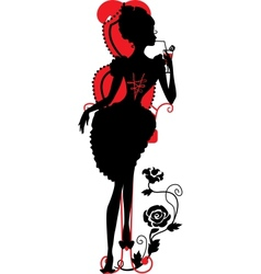 Silhouette of woman with a cocktail vector image