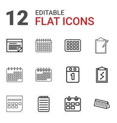 12 agenda icons vector