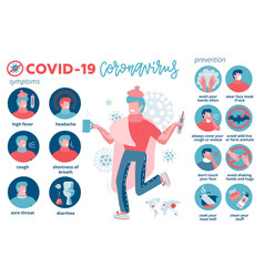 2019-ncov covid19 prevention symptoms and spreadin vector image