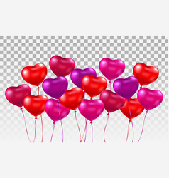 3d realistic heart ballons set bunch of glossy vector image