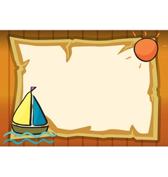 a sun a ship and paper sheet vector image