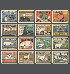 agriculture retro posters farm animals vegetable vector image