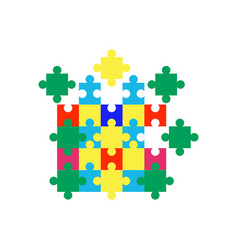 Autism puzzle icon design template isolated vector