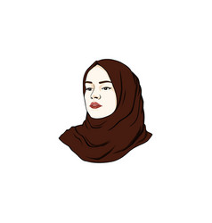 beautiful moslem girl hijab design logo vector image