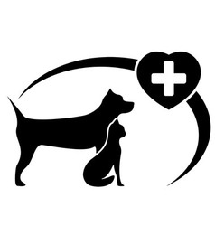 Black veterinary symbol with dog and cat vector