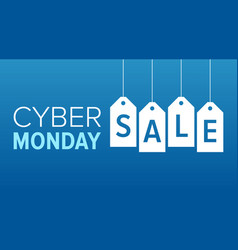 Blue cyber monday sale banner display vector