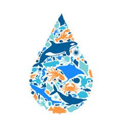 blue marine fish animal icon water shape concept vector image