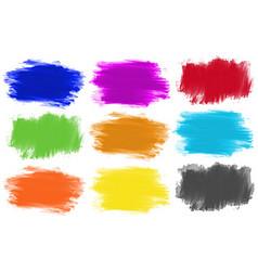 Brushstrokes in nine colors vector image