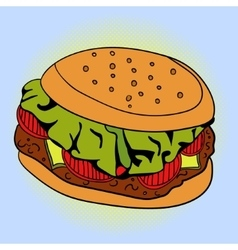 Burger Pop art vector