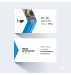 Business card template with abstract arrow in flat vector image