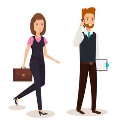 Business couple isometric avatars vector