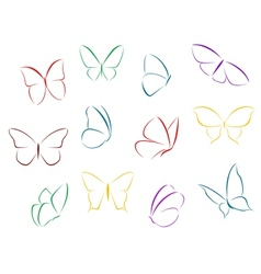 Butterflies color silhouettes vector