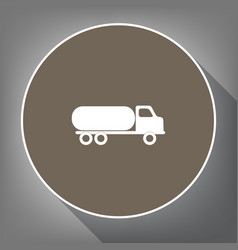 Car transports sign white icon on brown vector