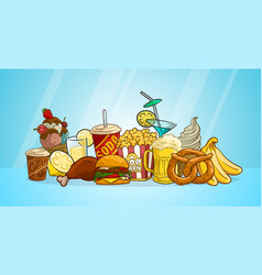 cartoon colorful fast food and drinks vector image