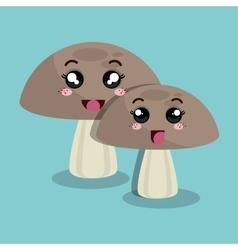 cartoon mushroom facial expression design isolated vector image