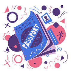 Cartoon passport air travel concept flat vector