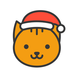 Cat face with santa hat filled style icon vector